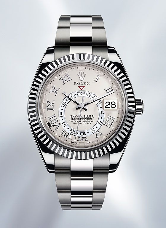 The Rolex Sky-Dweller, shown in white gold, comes equipped with both a second time zone and an annual calendar.  The case measures 42 mm in diameter, is water-resistant to 100 meters and holds the Caliber 9001.  More @ http://www.watchtime.com/featured/mastering-rolex-sky-dweller/  #rolex #watchtime #luxurywatch