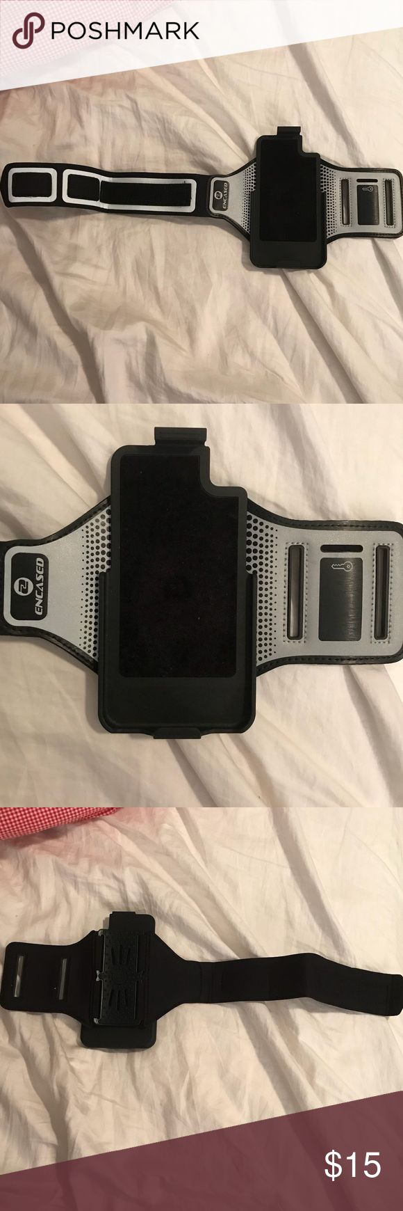 Encased Armband for iPhone6s Lifeproof Case -Brand new Encased workout armband for an iPhone 6s lifeproof case. Never got to use because my 6s broke, and I had to order a new iPhone 8.   -The band is about 12in long and has a velcro strap that is used to wrap the band to keep it in place.  -Has an additional pocket to hold a key on the side.  -Snap your iPhone 6s (with the lifeproof case on it) into place and it will stay put and hold during your workout. Easy installing and removal…
