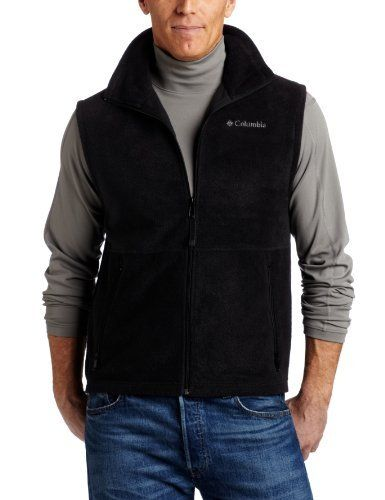 "Columbia Men's Cathedral Peak Vest Columbia. $18.00. 0.00"" wide. Machine Wash. Shell: 100% polyester 360g mtr? fleece. fleece. 0.00"" high. Zipper closure. Imported. Machine Wash. Zip Closed Hand Warmer Pockets. Authentic fit-not too fitted, not too loose.. Machine wash warm, permanent press cycle, mild detergent, do not bleach, do not dry clean, do not use fabric softener"