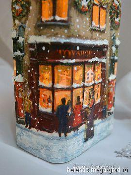 Бутылка-светильник Рождественское чудо Декупаж. Домик рождественский - Авторская работа, авторские новогодниеи рождественские подарки. МегаГрад - мега-портал авторской ручной работы