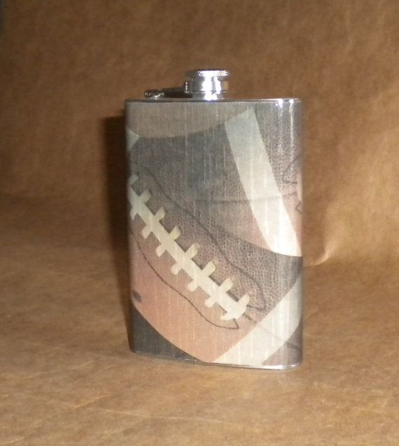 Men's Gift Flask Large Football Print Stainless by kryan2designs, $18.50