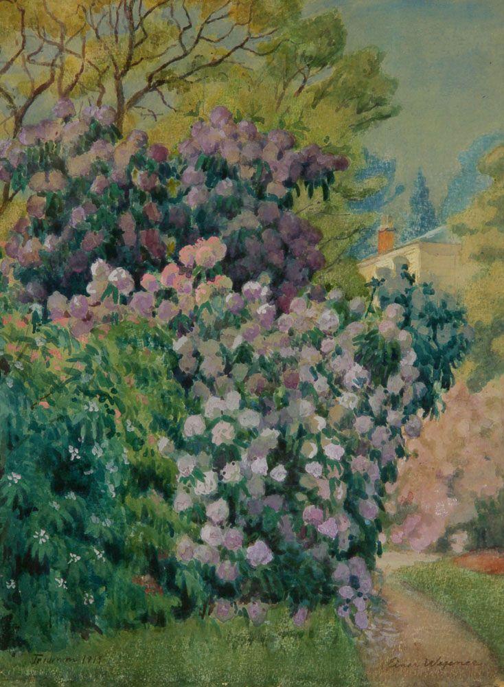 Einar Wegener. (1882-1931). Blomstrende buske, haveparti fra Trianon, 1919. Akvarel på papir monteret på pap. Sign. Einar Wegener, Trianon 1919. 42 x 30,5 cm. (45 x 34)