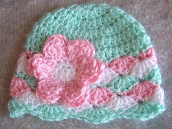 Baby Crochet Hat, Newborn Crochet Hat, Baby Girl Hat, Infant Baby Hat, Mint Green, Pink, White,Gift, Photo Prop on Etsy, $14.00
