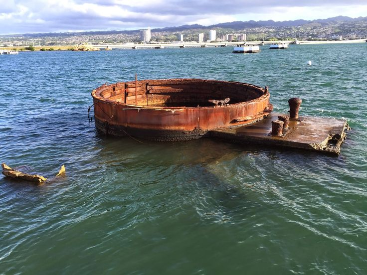 Barbette of Turret No. 3 of the wreck of USS Arizona, Pearl Harbor, Hawaii, United States, 30 Nov 2014