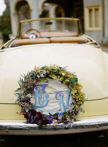 Wedding car wreath ... Wedding ideas for brides, grooms, parents & planners ... https://itunes.apple.com/us/app/the-gold-wedding-planner/id498112599?ls=1=8  ... The Gold Wedding Planner iPhone App.