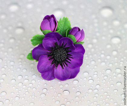 """""""Анемона"""" кольцо - тёмно-фиолетовый,анемоны,цветы ручной работы,кольцо"""