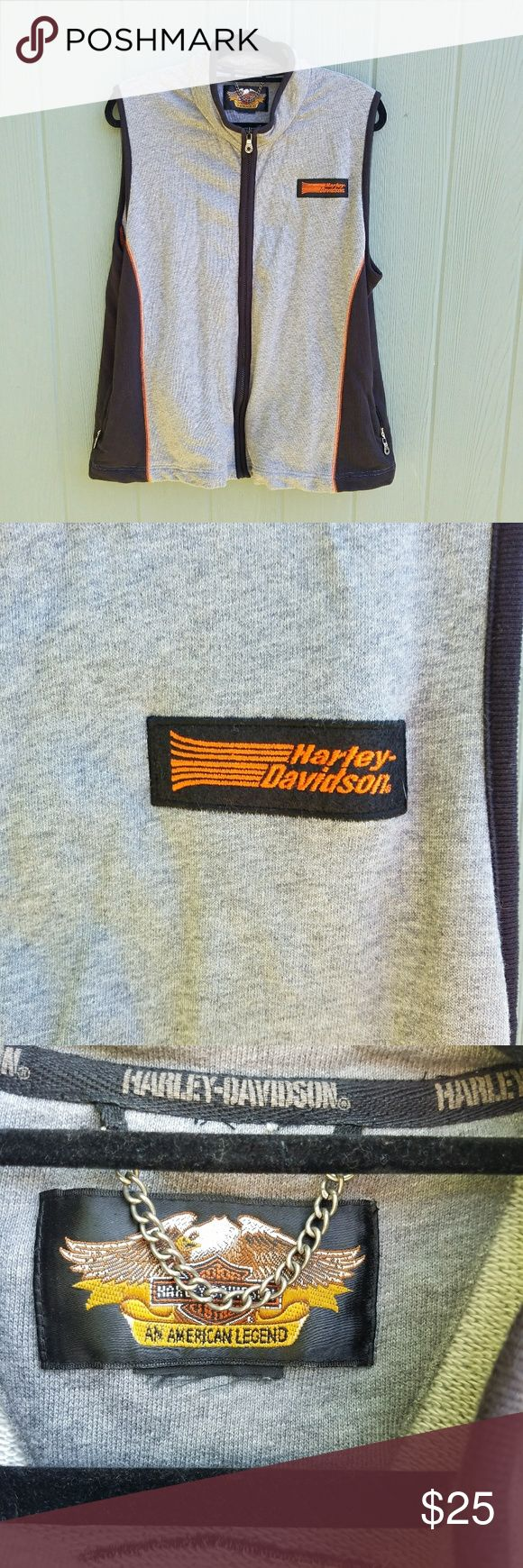 Harley Davidson Full Zip Vest Size Large.  Great shape no stains rips or snags.  Jersey material. Harley-Davidson Jackets & Coats Vests