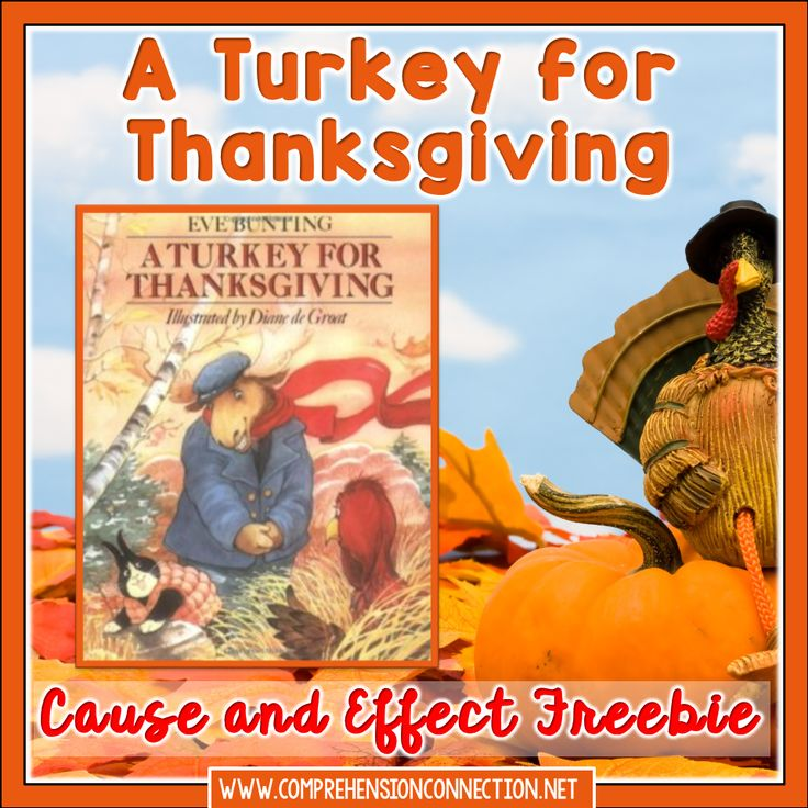 Teach your students cause and effect relationships using A Turkey for Thanksgiving by Eve Bunting with the freebie in this post.