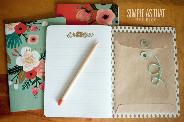 """From """"40 Brilliant DIY Organization Hacks"""" - this IS brilliant!  Don't want to spend a lot on a fancy notebook?  You can cover a simple composition notebook (10 cents at back-to-school time) with fabric or fancy paper and glue a manila envelope into the back."""