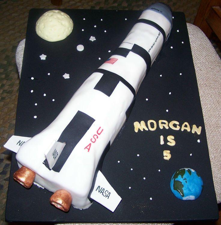 Apollo Rocket Birthday Cake Rocket Cut From A Half Sheet