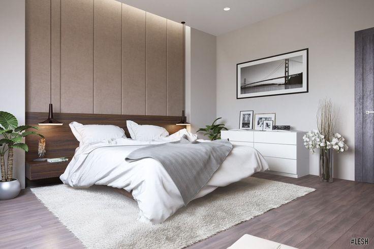 Интерьер спальни. Оформление двухэтажного загородного дома | Студия LESH