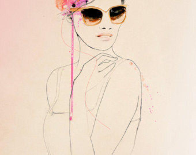 Coup d'oeil - Fashion illustratie Art Print, portret, vrouw, Mix Media schilderij van Leigh Viner
