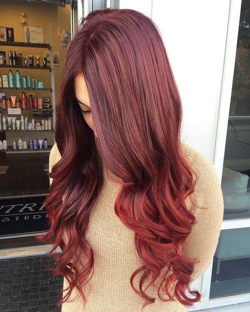 long burgundy to auburn sombre hair