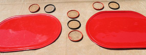 Midcentury Bar/Dining Set! 4 Red Placemats and 7 Classic Red/Black Coasters