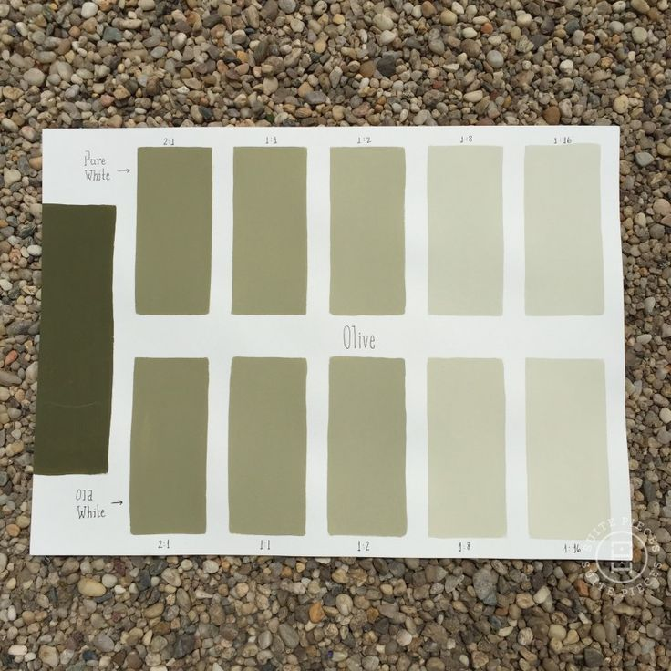 Chalk Paint® Olive Custom Color Chart using Pure White and Old White. Read more on our blog at Suitepieces.com | Suite Pieces