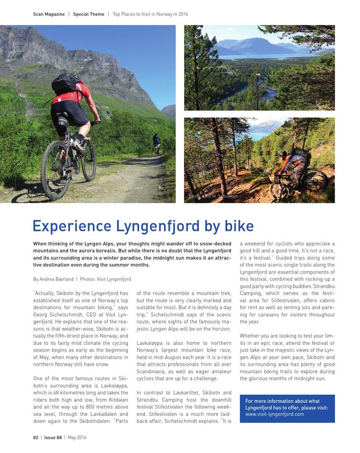 Scan Magazin article about mountainbiking in Skibotn and the Lyngenfjord region