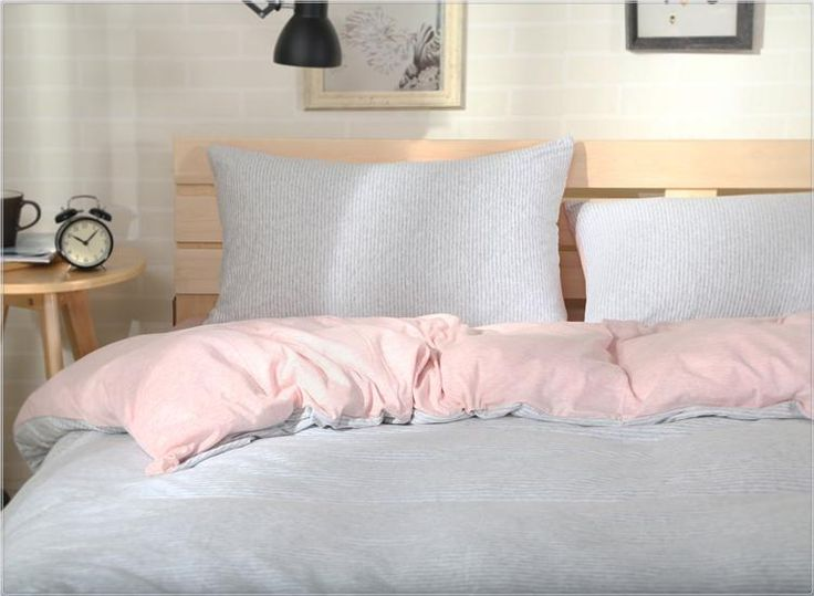 home quality cotton knitting pink and grey stripe bedding sets queen king size