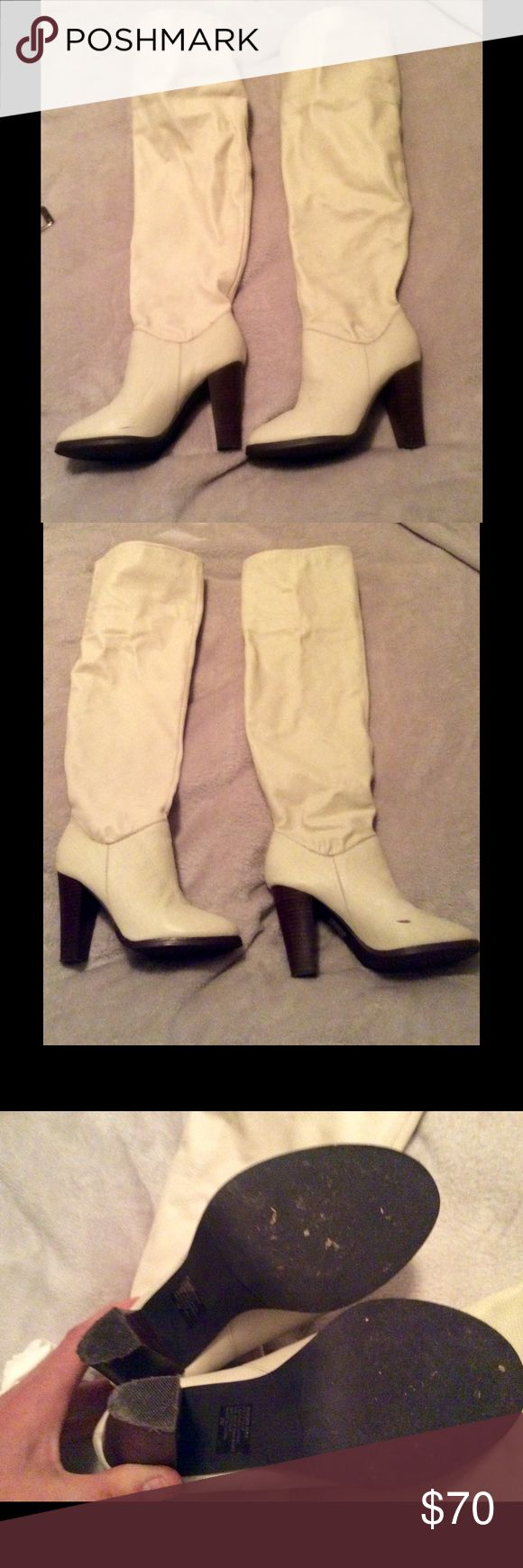 VICTORIA SECRET DESIGNER COLIN STUART BOOTS LITERALLY WORN TWICE! COLIN STUART IVORY LEATHER BOOTS! Absolutely mint condition! Colin Stuart Shoes Over the Knee Boots