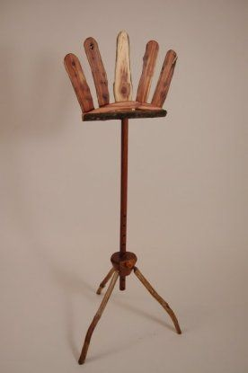 a lovely natural wood music stand