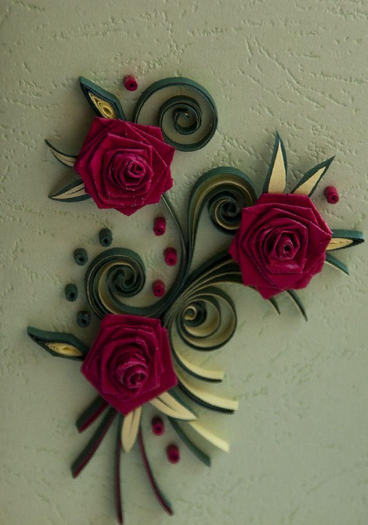 Розы открытки квиллинг, надписью про мото
