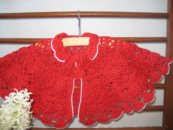 Shawl poncho for kids Giza cotton 100 Red color by MinnieCreation, €35.28