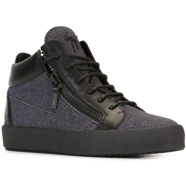 Giuseppe Zanotti Design 'Kriss' mid-top sneakers ($348) ❤ liked on Polyvore featuring men's fashion, men's shoes, men's sneakers, mens flat shoes, giuseppe zanotti mens sneakers, mens leather shoes, mens black leather shoes and mens lace up shoes