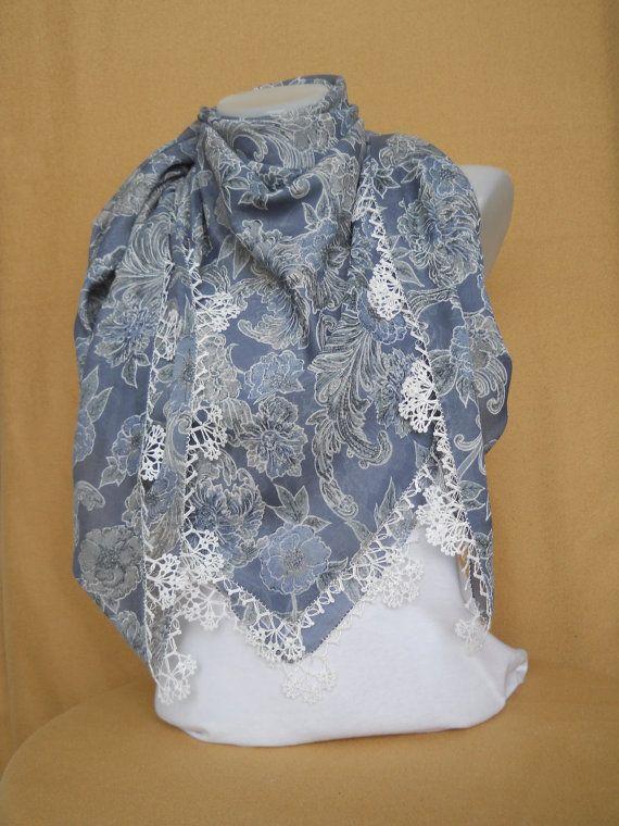 Turkish Scarf Cotton Scarf Crochet Lace Edging by ZekiyesWorkshop