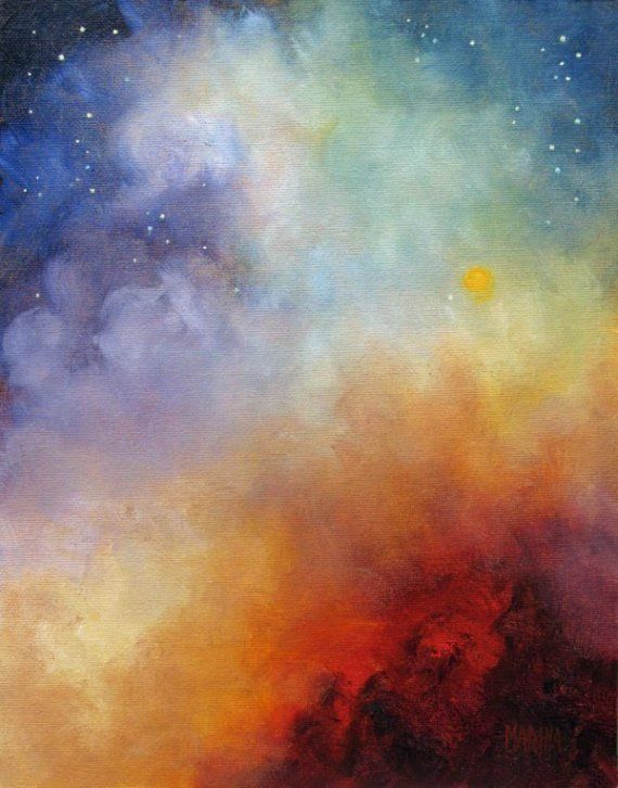 """Celestial Fire"" Skyscape, Original Art by MarinaPetroFineArt, $150.00 https://www.etsy.com/listing/40743436/celestial-fire-night-skyscape-original"