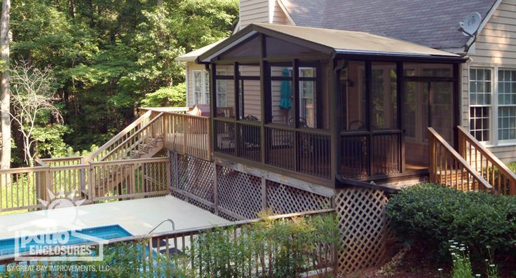 Bronze Aluminum Frame Screen Room with Gable Roof | For ...