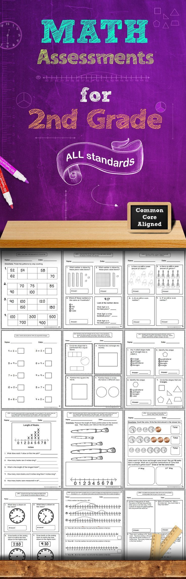 This 60+ page assessment bundle contains quick math assessments for every 2nd Grade Common Core Math Standard. There are at least 2 assessments included for each standard. These assessments packs are also available for grades 1, 3, 4, and 5!