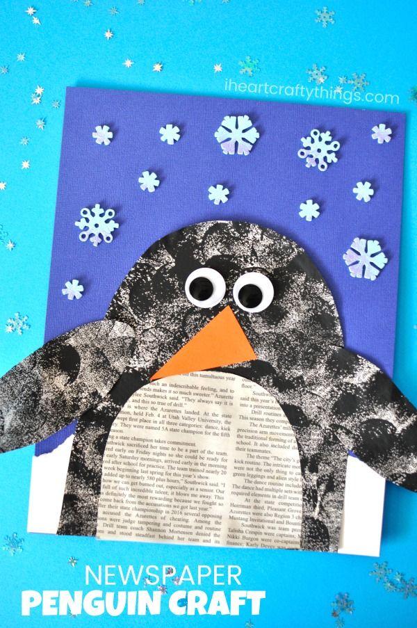 Recycle newsprint into this darling penguin newspaper craft for a fun winter kids craft. Cute penguin crafts for kids and winter animal crafts for kids. #penguincrafts #iheartcraftythings #wintercraftsforkids #mixedmediacollage #artprojectsforkids #artproject