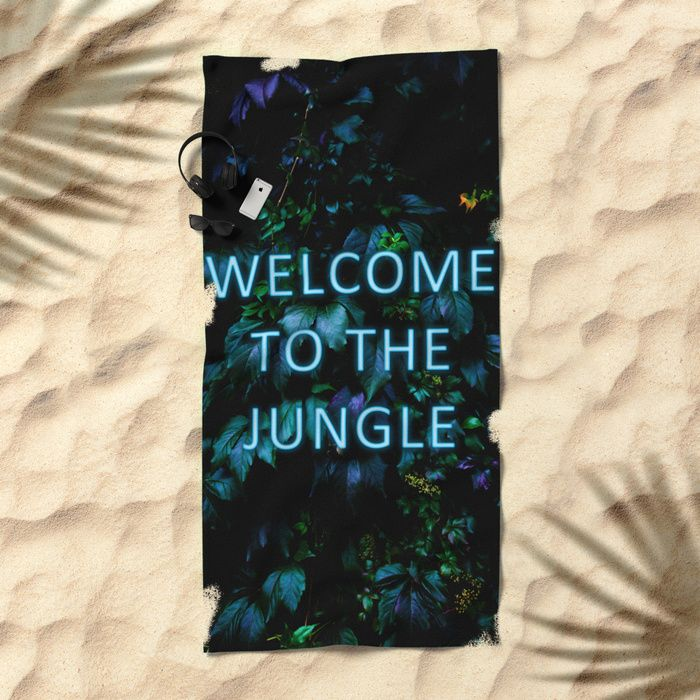 Welcome to the Jungle - Neon Typography Beach Towel. #neon #typography #floral #botanical #jungle #forest #nature #flowers #towel #beach #beachtowel