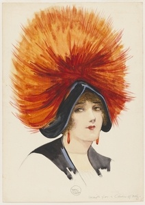 Lady in feather hat, n.d, unpublished magazine cover design by May Gibbs. From the collections of the Mitchell Library, State Library of New South Wales www.sl.nsw.gov.au...