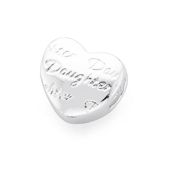 Silver Daughter Heart Bead