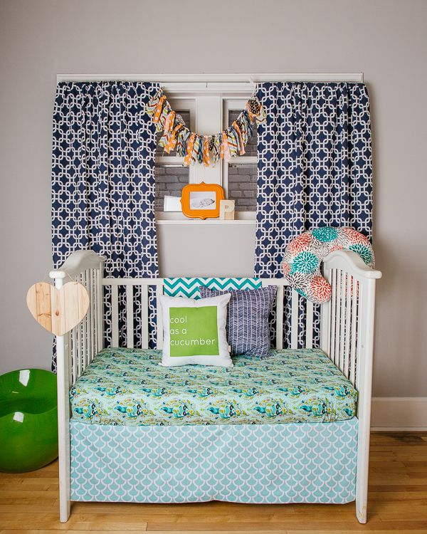 Blue and Green Modern Toddler Room  - such a great color combo! Love these pieces from @drawstringstudioColors Combos, Cribs Sheet, Color Combos, Future Babes, Eclectic Pattern, Modern Toddlers, Toddlers Room, Big Room, Colors Ideas