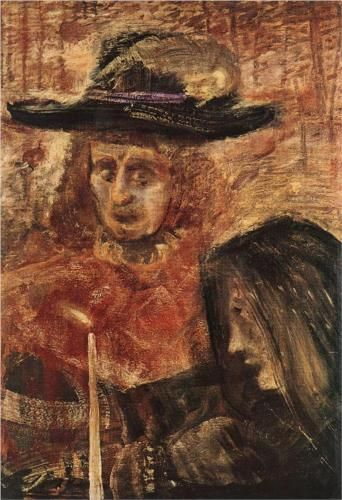 Man with Hat and Woman with Black Scarf   Artist: Gulacsy Lajos Completion Date: 1915 Style: Expressionism Genre: figurative painting