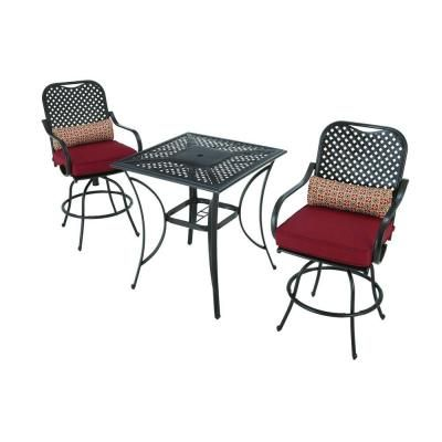 hampton bay fall river 3 piece patio high dining set with dragon fruit