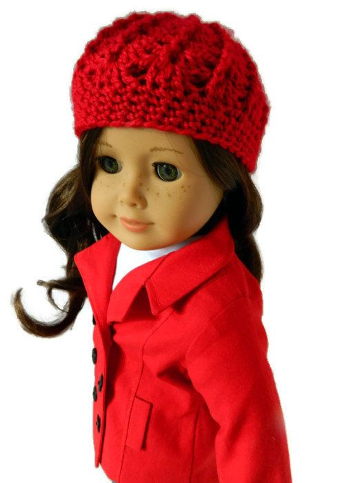 American Girl Doll Clothes  Red Crochet Hat by 18Boutique on Etsy, $5.00