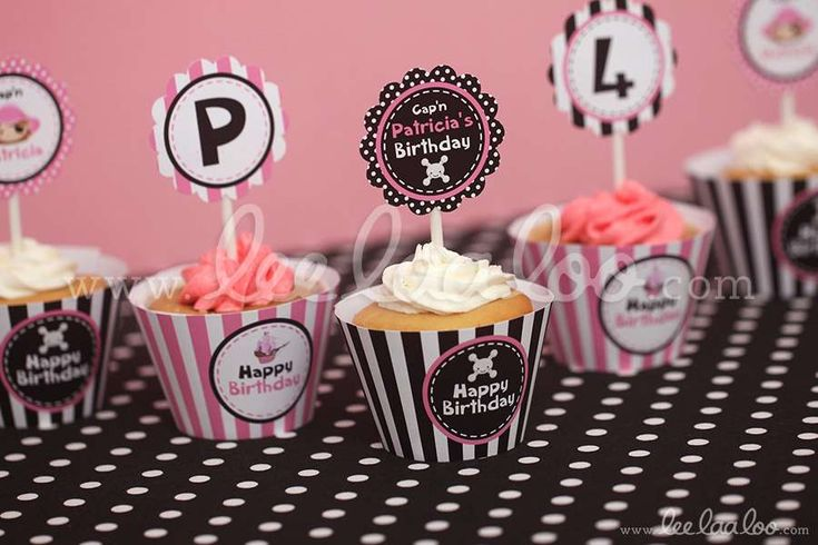 Pink pirate girl birthday cupcakes! See more party planning ideas at CatchMyParty.com!