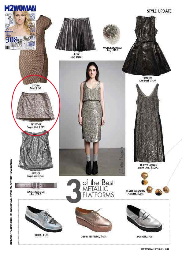 M2 Woman NZ March Issue, TK sequin mini skirt