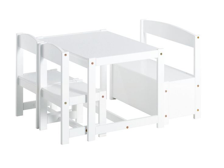 White Children set with a bench, 2 chairs and a Table by Hoppekids
