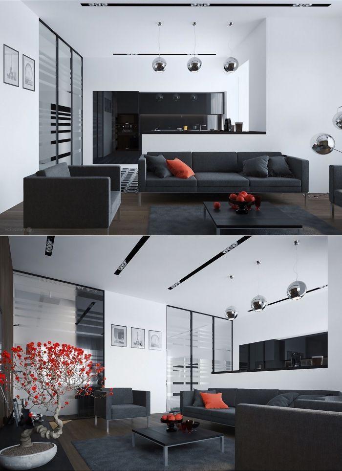 wohnzimmer deko in orange einrichtung in wieß und schwarz kleiner ...