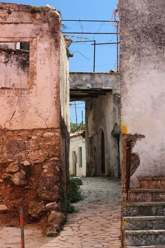 $25 photograph 8x 12 inch  Off the beaten track Greek Island Village by EmmabrookeImages