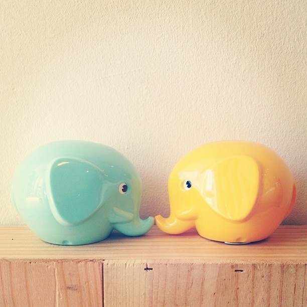 Norsu (elephant) coin banks, back in stock. Looking almost good enough to eat! Lots of colours available at the little dröm store.