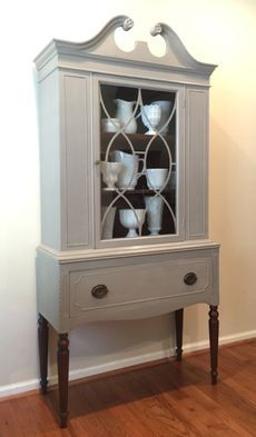 Vintage China Cabinet painted in Annie Sloan French Linen Chalk paint
