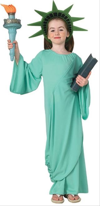 Statue of Liberty Kids Costume - This is a Statue of Liberty costume. This is a great symbol of freedom in The United States. This is a two-piece costume with a gown and headpiece. The gown has an elasticized neckline, flared sleeves, and an attached drape of fabric. The drape crosses over the chest and is gathered and elasticized near the bottom. The headpiece is a foam crown that circles over the top and back of the head. #statueofliberty #4thofjuly #usa #yyc #calgary #statue #costume
