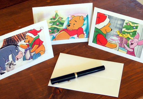 Christmas Cards  Winnie the Pooh Eeyore Piglet  by MagpieSailor
