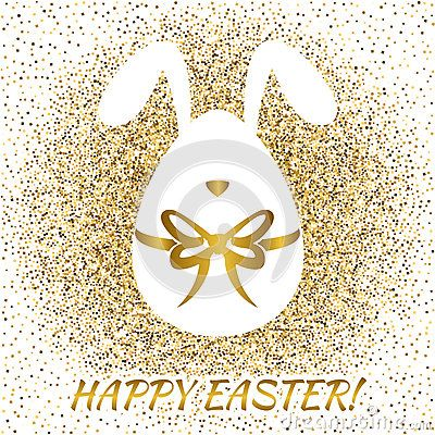 Easter greeting card with funny bunny. Easter egg. Happy Easter. Eater icon. Vector illustration