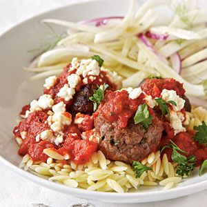 Greek Pasta with Meatballs | MyRecipes.com Looks great!  I will have to try this one.: Meatball Recipe, Cooking Lighting, Greek Pasta, Healthy Dinners, Lamb Meatball, Dinners Recipe, Greek Meatball, Pasta Recipe, Ground Turkey
