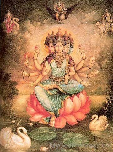 "Goddess Gayatri - ""Gayatri has five faces, they are the five life principles. She has nine descriptions, they are 'Om, Bhur, Bhuvah, Swah, Tat, Savitur, Vareñyaṃ, Bhargo, Devasya'."" ['My Dear Students', Vol 3, Ch 2, Mar 19, 1998]"
